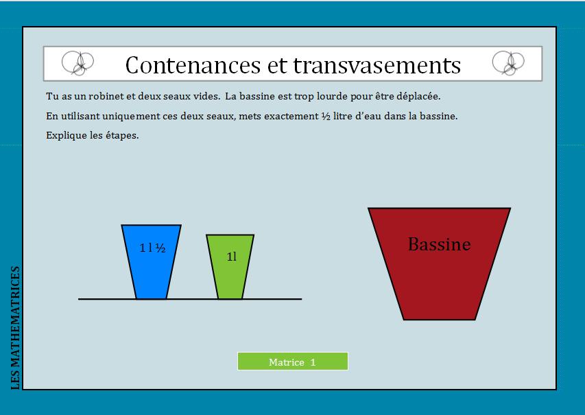 Contenances et transvasements